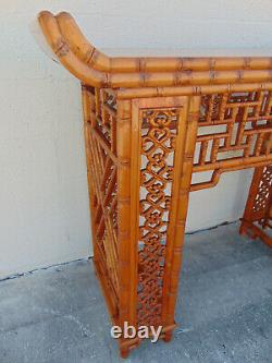 Vintage Carved Bamboo Chinese Chippendale Pagoda Console Fretwork Altar Table