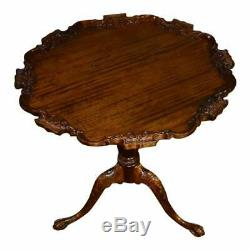 Vintage Carved Mahogany Claw Foot Pie Crust Table