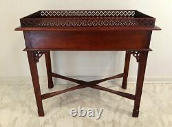 Vintage Chinese Chippendale Style Carved Mahogany Silver Table