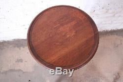 Vintage Chippendale Carved Mahogany Faux Bamboo Pedestal Plant Stand