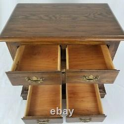 Vintage Chippendale Nightstand End Table 5 Drawer Oak Wood Pennsylvania House