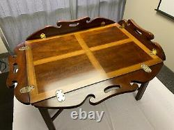 Vintage Chippendale Style Inlaid Mahogany Butler's Coffee Table high quality