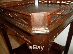 Vintage Chippendale Style Mahogany 2 Tier Lamp Table Fine Arts Company Antique