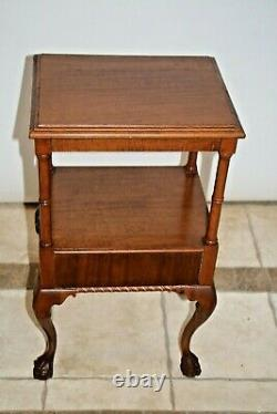 Vintage Chippendale Table with drawer and bottom shelf carved ball claw legs