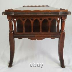 Vintage Coffee Table Flame Mahogany Fretwork Chippendale With Pass Thru Drawer