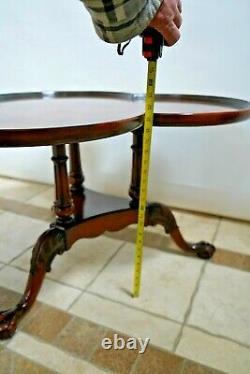 Vintage Coffee Table bottom shelf solid walnut Clover leaf top ball and claw leg