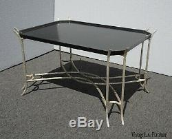 Vintage Dennis & Leen Chippendale Chinioiserie Black Coffee Table w Silver Base