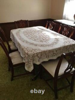 Vintage Drexel Chippendale Mahogany Formal Dining Table, 6 Chairs, Sideboard