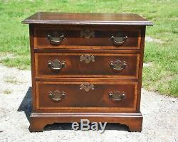 Vintage English Provincial style Mahogany Banded Chest End Table Night Stand