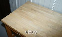 Vintage Farmhouse Kitchen Dining Table Six Drawer With Scrub Work Block Top