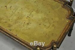 Vintage Faux Bamboo Chinese Chippendale Style Brass Tray Top Coffee Table