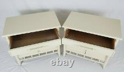 Vintage Faux Bamboo End Table Cabinet Pair Palm Beach Regency Century Furniture