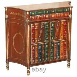 Vintage Faux Book Library Sideboard With Twin Drawers Lovely Decorative Piece