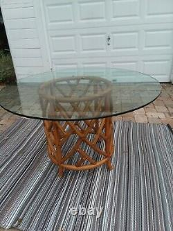 Vintage Ficks Reed Chinese Chippendale Bamboo Rattan Dining Set