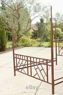 Vintage Hollywood Regency Iron Bamboo Chinoiserie Chippendale King Canopy Bed