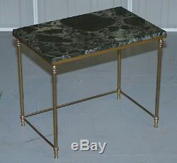 Vintage Italian Nest Of Three Tables Circa 1940's Brass With Thick Marble Top