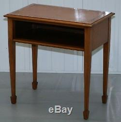 Vintage Light Mahogany Side Lamp End Wine Office Table With Brown Leather Top