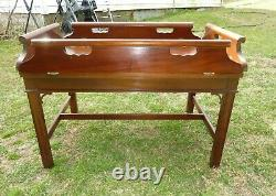 Vintage MCM Mid Century Baker Furniture Butler's Drop Side Coffee Table