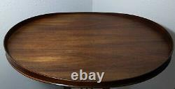 Vintage MERSMAN Oval Pedestal Harp Lyre Mahogany Table Chippendale Claw Feet