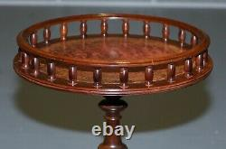Vintage Mahogany With Brown Leather Top Gallery Rail Side End Lamp Wine Table