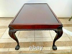 Vintage Marble Top Mahogany Rectangle Coffee Table Hand carved ball claw legs