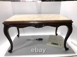 Vintage Marble Top Mahogany Rectangle Coffee Table Hand carved legs