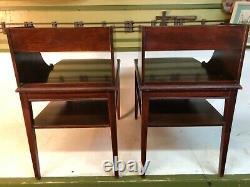Vintage Mid Century MERSMAN 7015 Pair Triple Stack Drawer Mahogany Tables Table