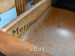 Vintage Mid Century MERSMAN 7706 Pair of Rolling End Step Tables Veneer