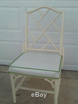 Vintage Mid Century White Chinese Chippendale Patio Dinning Set Table And Chairs