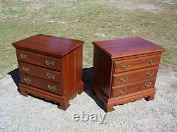 Vintage Pair Solid Cherry Chest of Drawers End Tables Night Stands