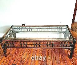 Vintage Palm Beach Regency Chippendale Chinoiserie Bamboo Coffee Table