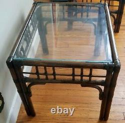 Vintage Palm Beach Regency Chippendale Chinoiserie Bamboo Side Table