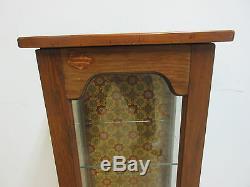 Vintage Pine Chippendale Slender Lamp End Table Pedestal Curio Cabinet shelf