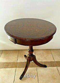 Vintage Plant Stand Jardiniere Round lamp drum table pedestal Burlwood Mahogany