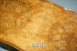 Vintage Quarter Burr Walnut Cut Coffee Table With Claw & Ball Cabriolet Legs