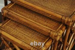 Vintage Rattan Nesting Tables, Asian Chippendale Nesting 3 Table SET-Boho Coastal
