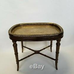 Vintage Regency Chinese Chippendale Mahogany Engraved Brass Tray Table Tea Table
