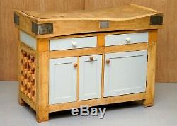 Vintage Rushbrooke's Albion Butchers Block Table Top On New Kitchen Cupboard