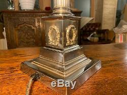 Vintage Silver Plated Corinthian Pillared Nelsons Column Table Lamp Stepped Base