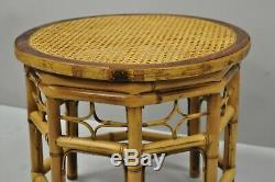 Vtg Brighton Pavilion Style Bamboo & Cane Chinese Chippendale Round Side Table