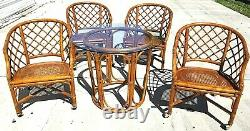 Vtg Chippendale FICKS REED Bamboo Rattan Caned Dining Cocktail Set Table Chairs