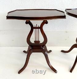 Vtg Pedestal Harp Base Table End Side Greek Lyre Antique Mahogany Wood MCM