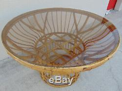 Vtg Rare Brighton Pavilion Bamboo Rattan Dining Table Round Chinese Chippendale