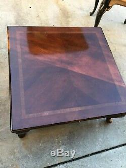 XL antique Coffee table inlaid solid wood Chippendale Cabroile Legs Traditional