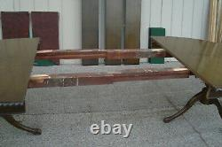 00001 Antique Solid Mahogany Dining Table Avec 3 Feuilles 96 X 48 X 30h + Pads