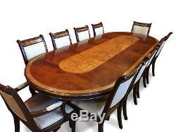10.4ft Designer Style Régence Acajou / Burr Ash Dining Set Français Poli