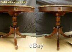 100x42 Antique Vintage Chippendale Acajou À Manger En Bois Table Double Piédestal