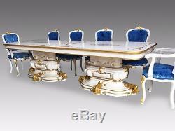 10ft Opulent & Magnifique Table À Manger De Style Louis XVI Pro Ensemble Brillant Français