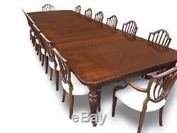14.9ft Antique Grand Victorian Table À Manger En Noyer. 1831-1901