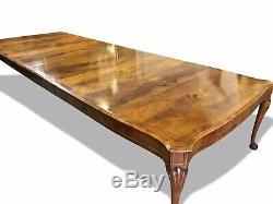 1831-1901 Fantastique Rare 14ft Burr Table À Manger En Noyer Pro Brillant Français